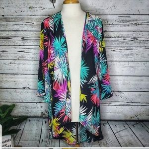 New Directions Black Print Kimono Cover Up